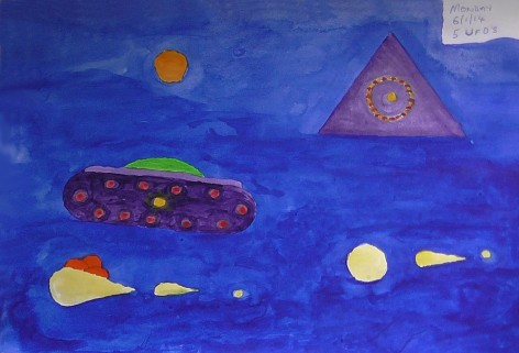 5 UFOs - Painting by Turtle, Copyright 6th January 2014